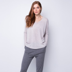 Batwing loose fit pullover in fog grey