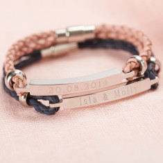 Personalised Women's Leather Identity Bracelet