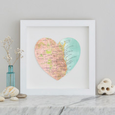 Brisbane and The Gold Coast map heart print