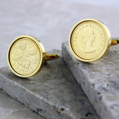 Sixpence 50th birthday cufflinks in gold