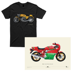 Ducati 750 Sport motorcycle t-shirt + Ducati Mike Hailwood Hand Painted Poster