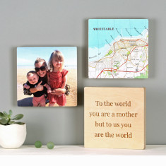 Personalised Map & Photo Wall Art Blocks For Her