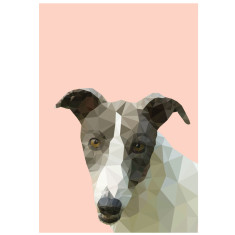 Geometric Greyhound dog art print