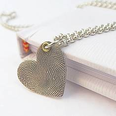 Inked Fingerprint Heart Pendant