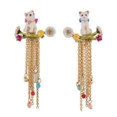 Kitten on a branch and chains Earrings