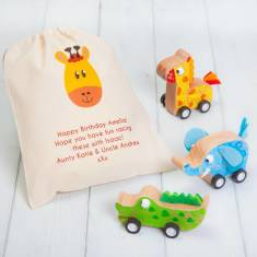 Wooden Pull Back Safari Animals With Personalised Bag