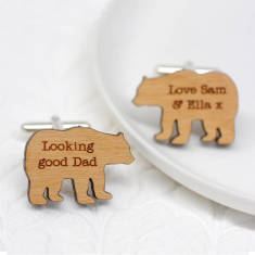Personalised daddy bear cufflinks