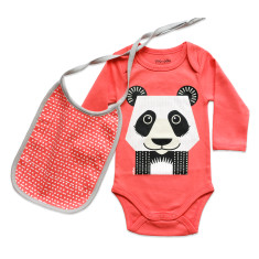 Panda onesie and bib set