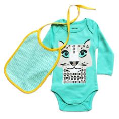 Snow leopard onesie and bib set