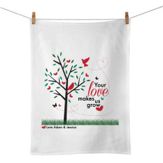Your love makes us grow personalised tea towel