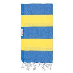 Bold Daisy and azure Turkish towel