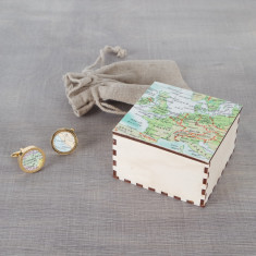 Map gold cufflinks & box (you choose the locations)