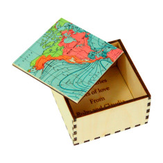 Personalised map location cufflink box