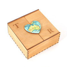 Personalised map location wooden heart box