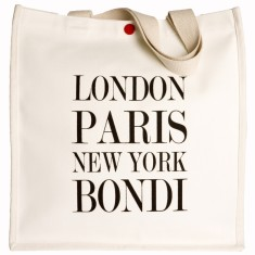 London Paris New York Bondi white tote
