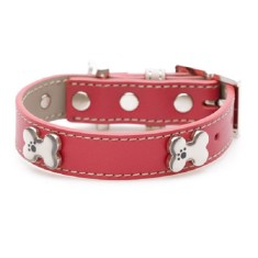 Bling bone dog collar in pink or red