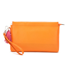 Bonnie clutch in orange with pink leather tassels