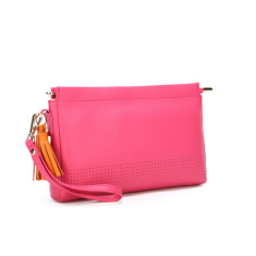 Bonnie in pink with orange leather tassels