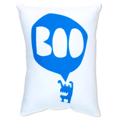 Boo monster cushion in blue