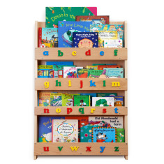 Tidy books bookcase with lowercase alphabet