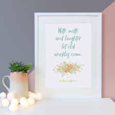 Friendship Shakespeare mirth and laughter quote floral print