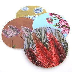 Set of four native flower coasters (various designs)