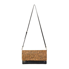 Gwyneth leather bag in black/cheetah