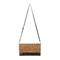 Gwyneth leather bag in black/cheetah