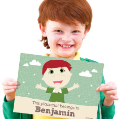Boys' personalised placemat in green