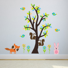 Woodland Animals and Tree Wall Sticker