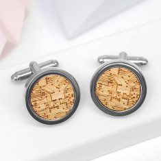 Wooden circuit board cufflinks