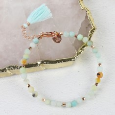 Natural Stone and Rose Gold Beaded Bracelet