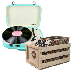 Crosley Coupe Vinyl Record Turntable Teal + Record Storage Crate Bundle