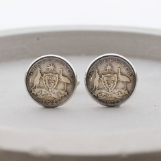Threepence antique coin cufflinks