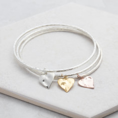 Rose Gold Silver Heart Charm Bangles