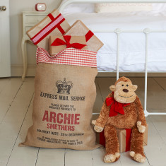 Personalised Gingham-topped Christmas sack