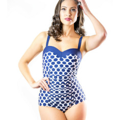 Lizzie sweetheart swimsuit in nautical navy spot
