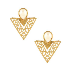 Gold geometric statement earrings with pearl stone