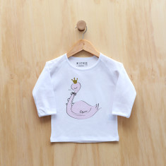 Girls' personalised swan long sleeve t-shirt