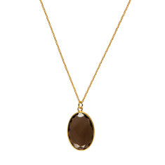 Classic setting smokey quartz pendant (medium)