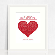 The things I love about you personalised print