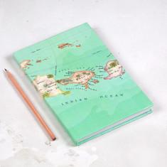 Bali map print notebook