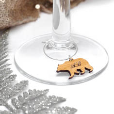 Set Of 10 Personalised Polar Bear Wine Glass Charms