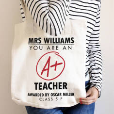Personalised A+ Teacher Tote Bag