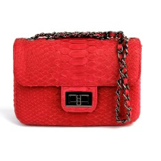 Red python leather crossbody sling bag