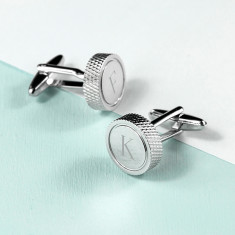 Personalised Round Rhodium Plated Cufflinks