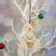 Personalised Kangaroo First Christmas Wooden Decoration