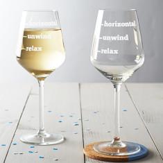 Relax, Unwind, Horizontal Wine Glass