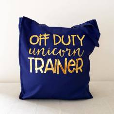 Unicorn trainer gold foil tote bag