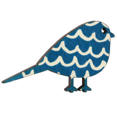 Bird brooch with blue wave pattern